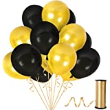 Treasures Gifted Gold Bachelorette Balloons and Pearl Black Metallic Party Decorations for Class or Family Reunion Fancy Birthday Anniversary Graduation Baby Shower Pack of 100