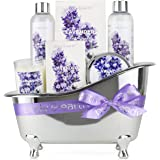 BODY & EARTH Spa Gifts for Women, Lavender Scented, Gifts Set for Women,7 Pcs Spa Gift with Shower Gel, Bubble Bath, Bath Salts,Body Lotion, Scented Candle, Best Gift for Her