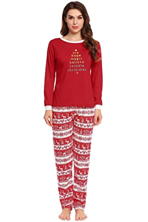 3833d3f465 Image Unavailable. Image not available for. Colour  Adome Womens Christmas  Pajamas Letter Print Pj Pants Set Long Sleeve ...