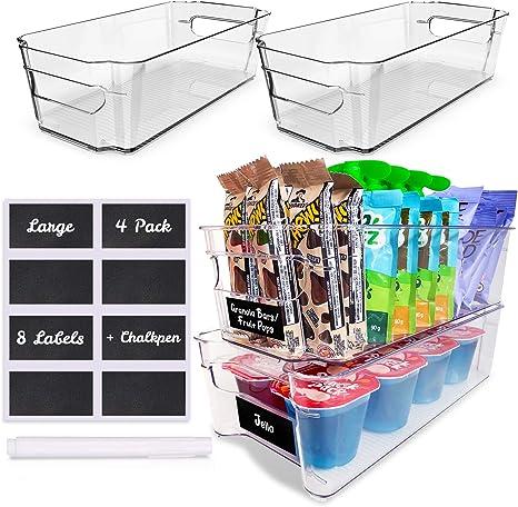 4 Pack Pantry Bins - Stackable Fridge Organizer - Sturdy Pantry Storage Bins - Quality Clear Organizing Bins - BPA Free Pantry Organization - Space Saving Kitchen Organization - Kitchen Storage Bin