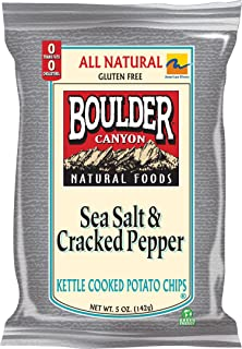 product image for Boulder Canyon Kettle Chips, Sea Salt and Cracked Pepper, 5-Ounce Bags (Pack of 12)