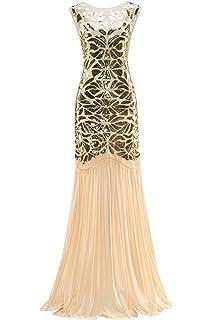 8411761c Metme Women's 1920s Evening Dress Beaded Sequin Classic Long Flapper Gatsby Prom  Dress