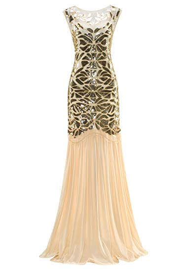 cc2655d167fa Metme Women's 1920s Evening Dress Beaded Sequin Classic Long Flapper Gatsby  Prom Dress Apricot + Gold