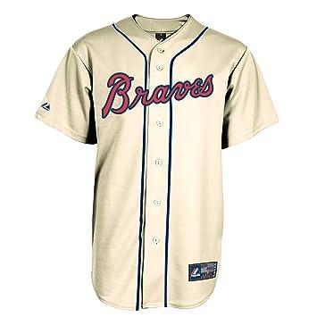 Majestic Atlanta Braves Réplica Béisbol MLB Camiseta Alternate Ivory, Weiß: Amazon.es: Deportes y aire libre