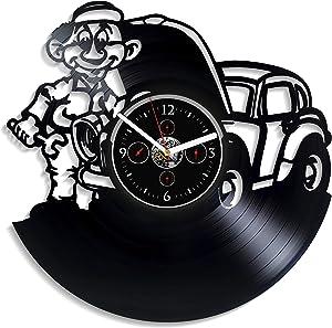 HandmadeCorp Mechanic Wall Clock Vintage Vinyl Record Retro Wall Clock Mechanic Profession Wall Clock 12 Inch Birthday Gift Mechanic Gift for Husband New Year Gift Mechanic Decor Home Wall Decor