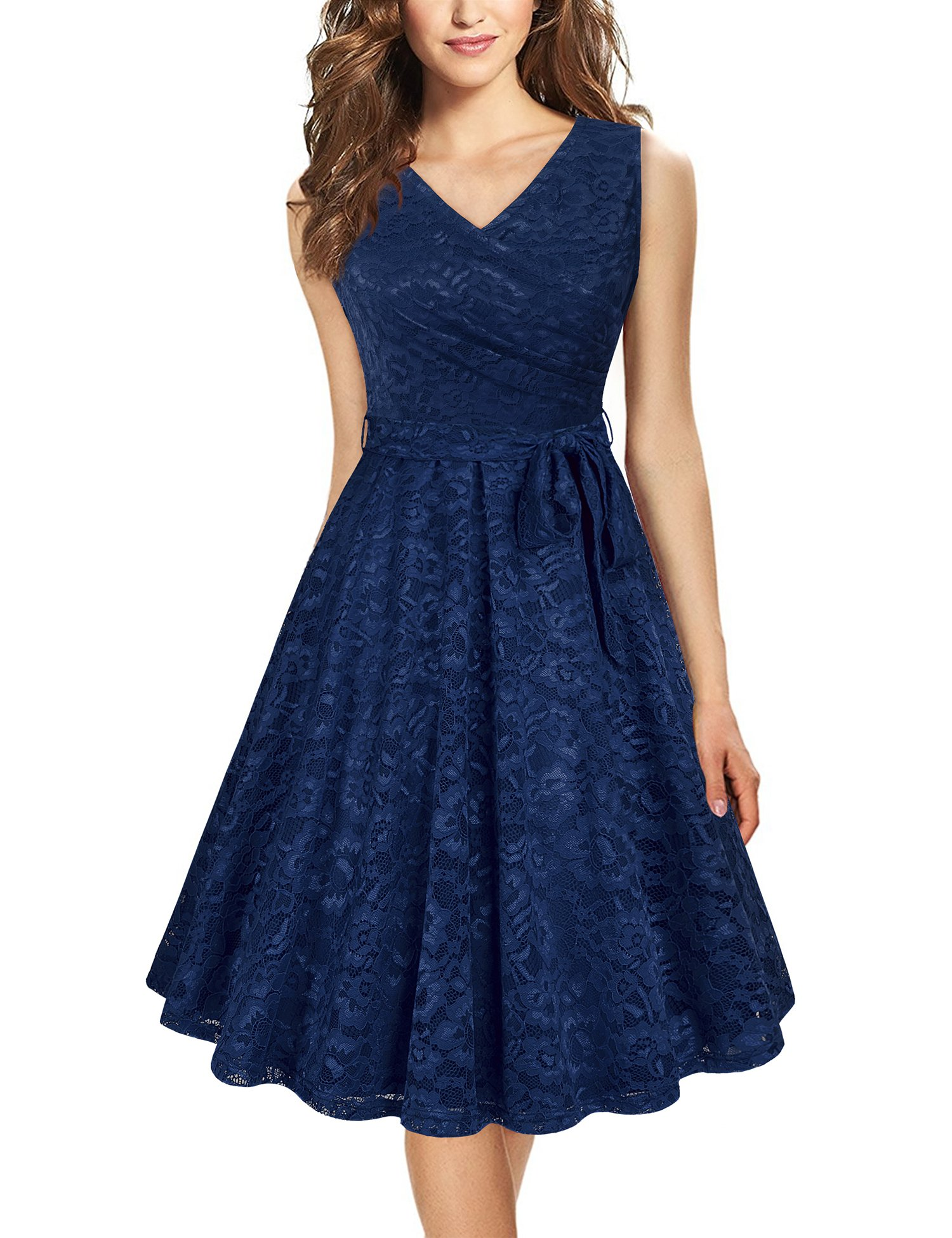 Laksmi Women Dress for Work,Womens Sleeveless Casual Soft Fit and Flare Simple Deep V Neck Lace Office Dress with Belt,Deep Blue XL