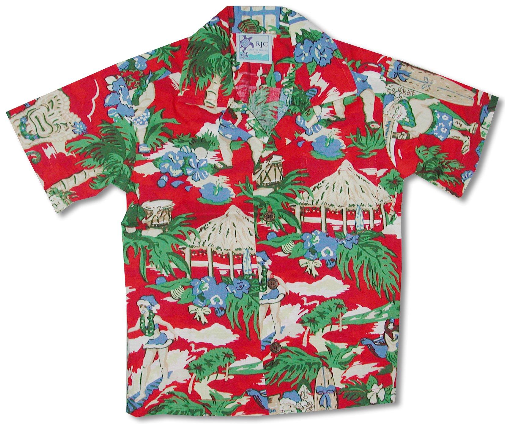 RJC Boys Hawaiian Santa More Beach Fun Shirt Red 18