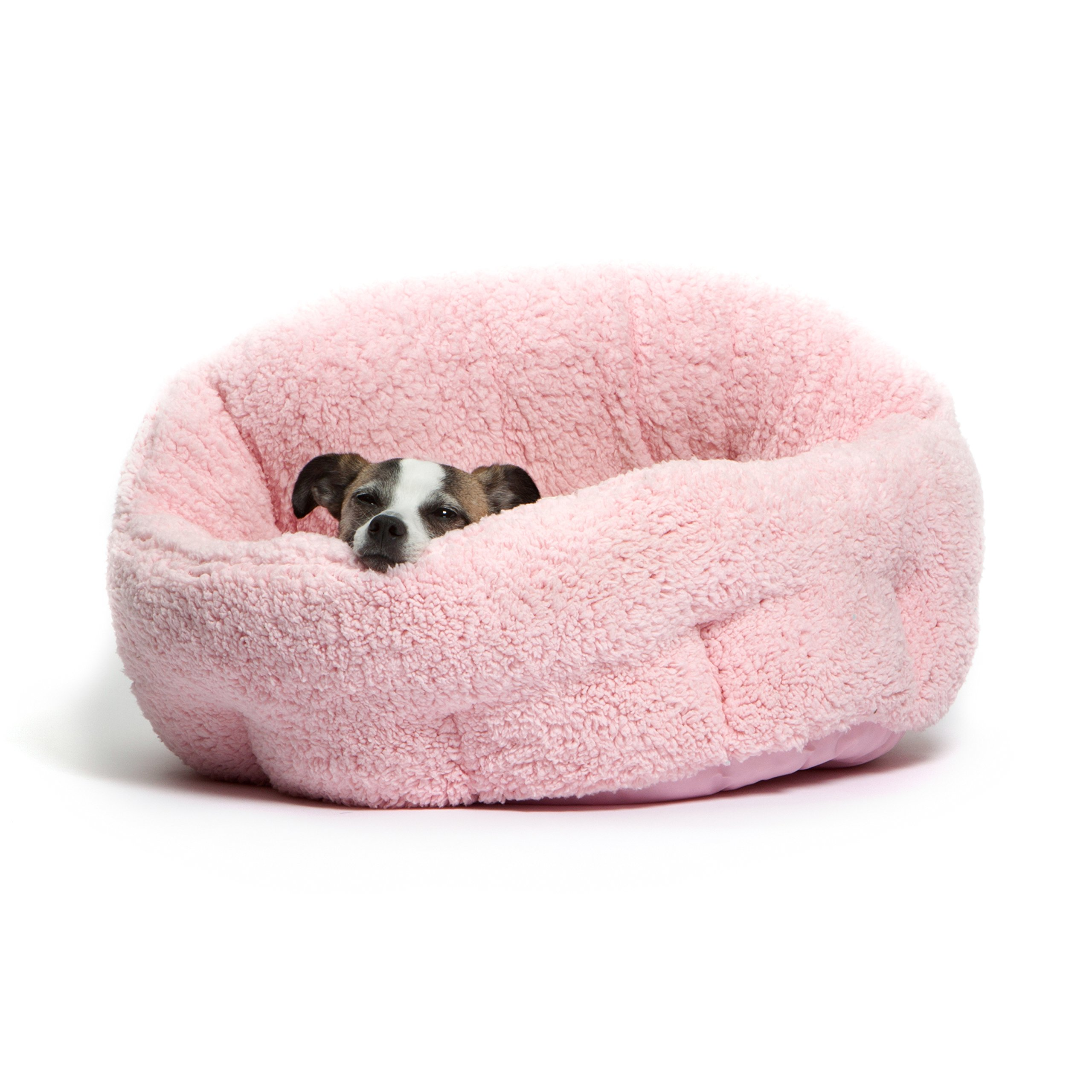 Best Friends by Sheri OrthoComfort Deep Dish Cuddler (20x20x12'') - Self-Warming  Cat and Dog Bed, Pink