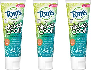 product image for Tom's of Maine Natural Wicked Cool! Fluoride Toothpaste for Kids, Mild Mint, 5.1 oz. 3-Pack