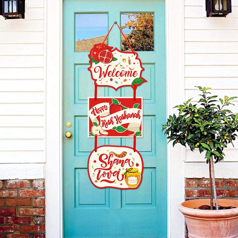 Happy Rosh Hashanah Shana Tova Welcome Door Hanger Party Decor Jewish New Year Greeting Sign Apple Shofar Honey Front Door Wreath Hanging for Wall Porch Bedroom Living Room Kitchen Backyard Home Decor