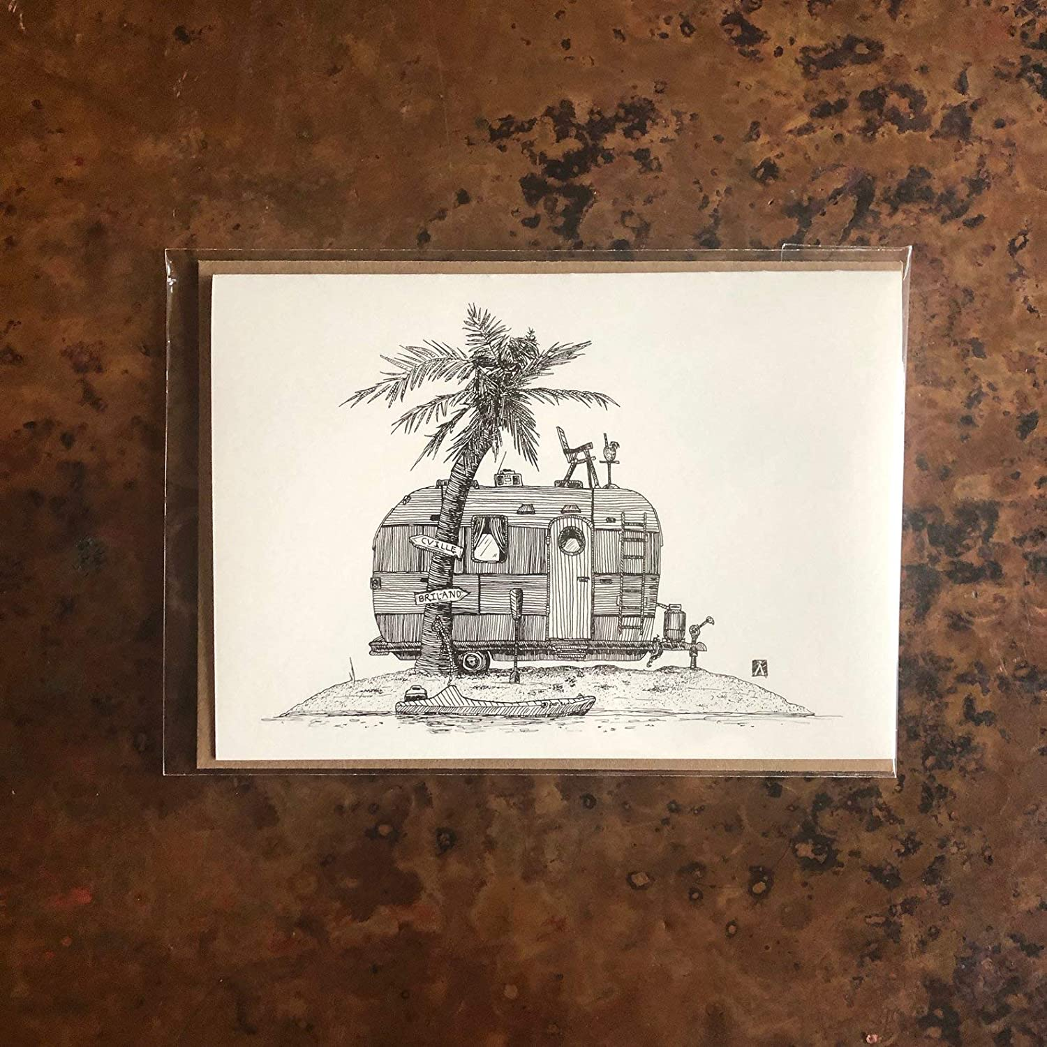 BellavanceInk Greeting Card With Pen /& Ink Drawing of Vintage Trailer On An Deserted Island 5 x 7 Inches