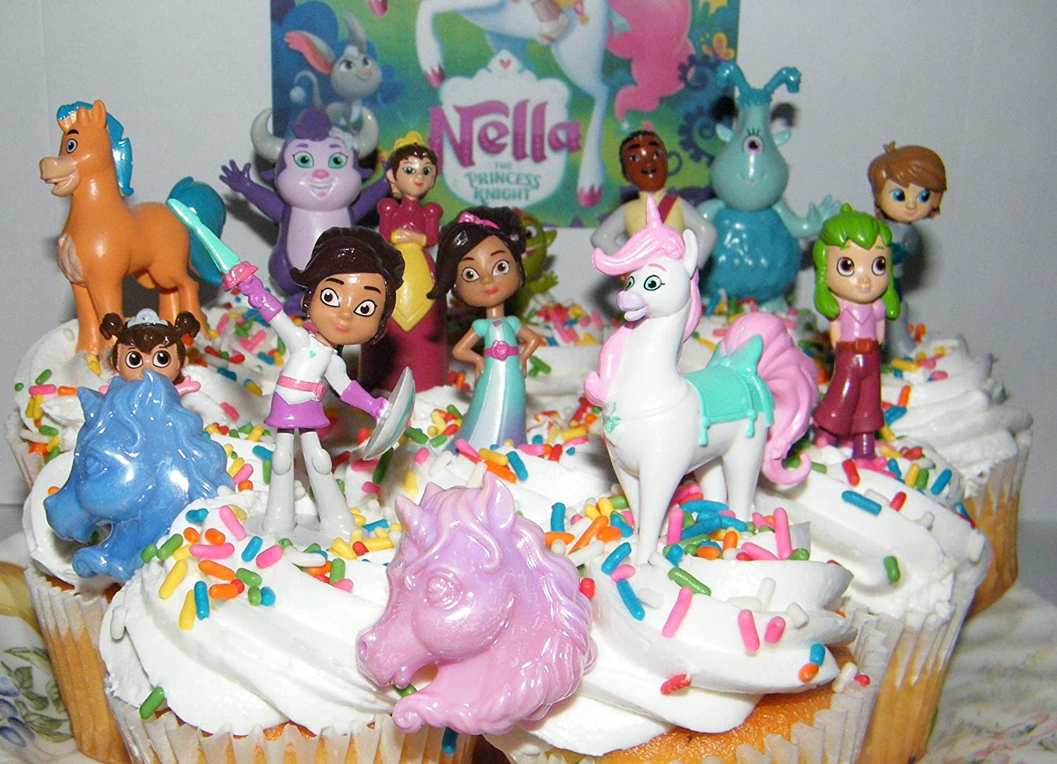 Unicorn Trinket and More Nella the Princess Knight Deluxe Party Favors Goody Bag Fillers Set of 14 with 12 Figures and 2 Unicorn ToyRings Featuring Knight Nella Cake Toppers 3 Dragons