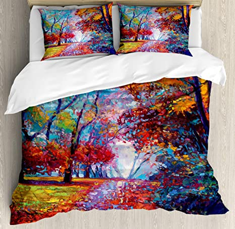 Ambesonne Country Duvet Cover Set, Colorful Fairy Paint Of Park In Fall View Of The Earth In Oil Painting Style Print, Decorative 3 Piece Bedding Set With 2 Pillow Shams, King Size, Orange Blue by Ambesonne