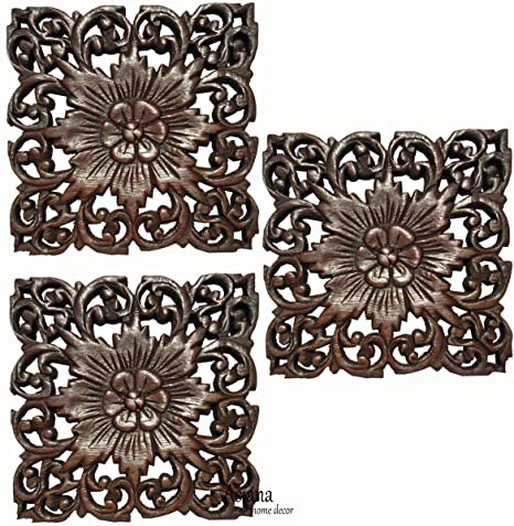 amazon com set of 3 small tropical carved wood wall plaques floral
