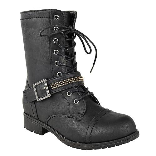 Mujer Tacón Bajo Plano Cordones Ejército Militar Motero Cremallera Botines: Amazon.es: Zapatos y complementos