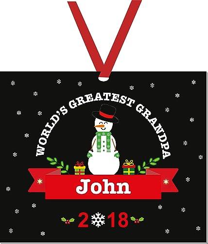51cd66f2110a1 Grandpa Christmas Ornament-Personalized Christmas Ornaments-Worlds Greatest  Grandpa-Grandpa Ornament 2018-Grandma Gifts Snowman-Ornament for Christmas  Tree
