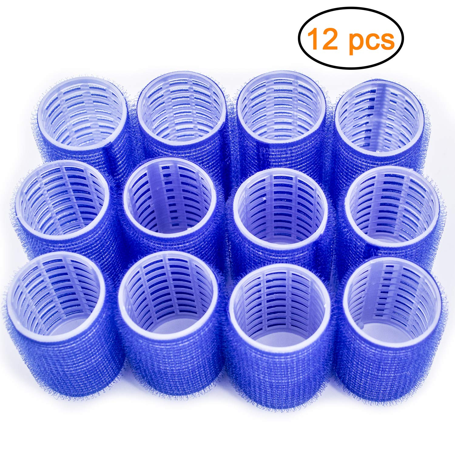 Large Hair Rollers, Self Grip Salon Hairdressing Curlers, DIY Curly Hairstyle, (Colors May Vary), 12 Pack