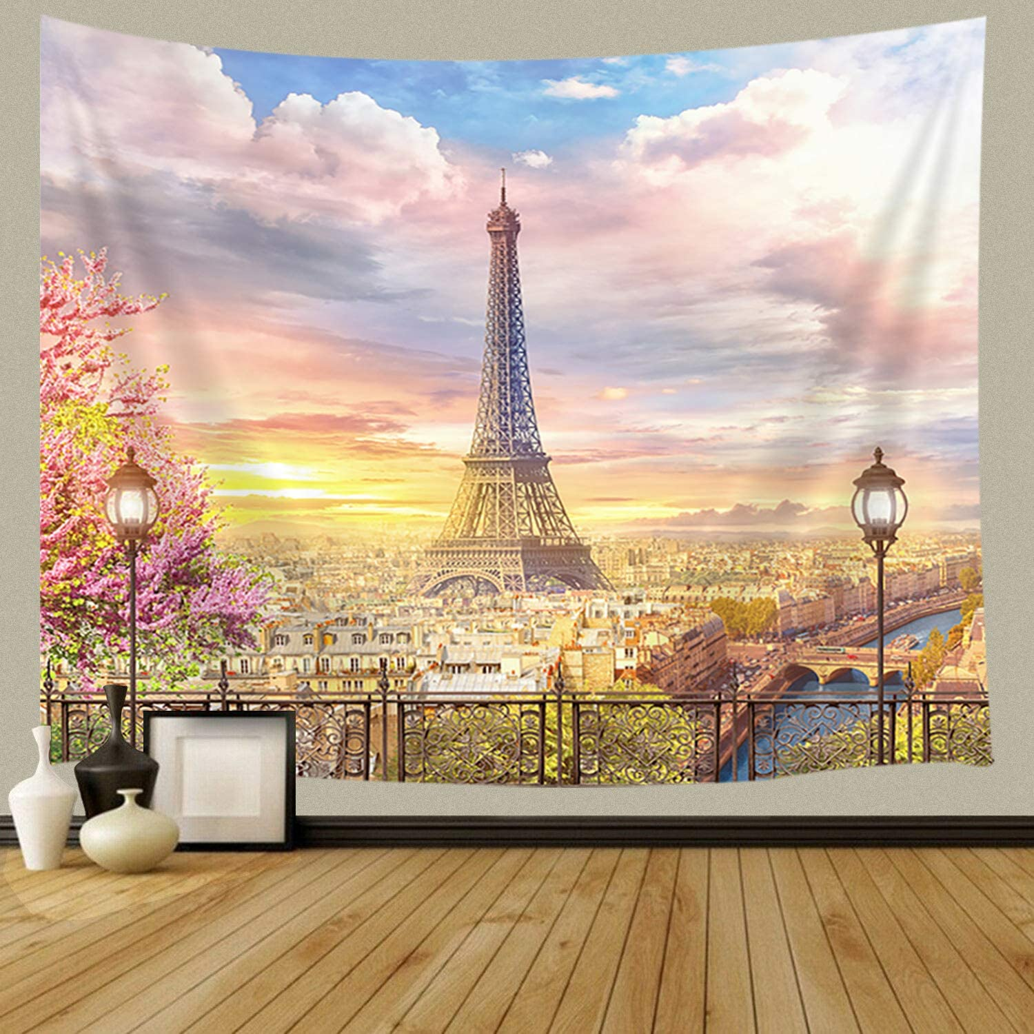 France Wall Tapestry, Balcony on the Paris Effel Tower Spring Scenery of Romantic Art Home Decor Tapestry for Bedroom Living Room Dorm Wall Hanging Tapestry Beach Throw Table Runner Cloth 71x60inches