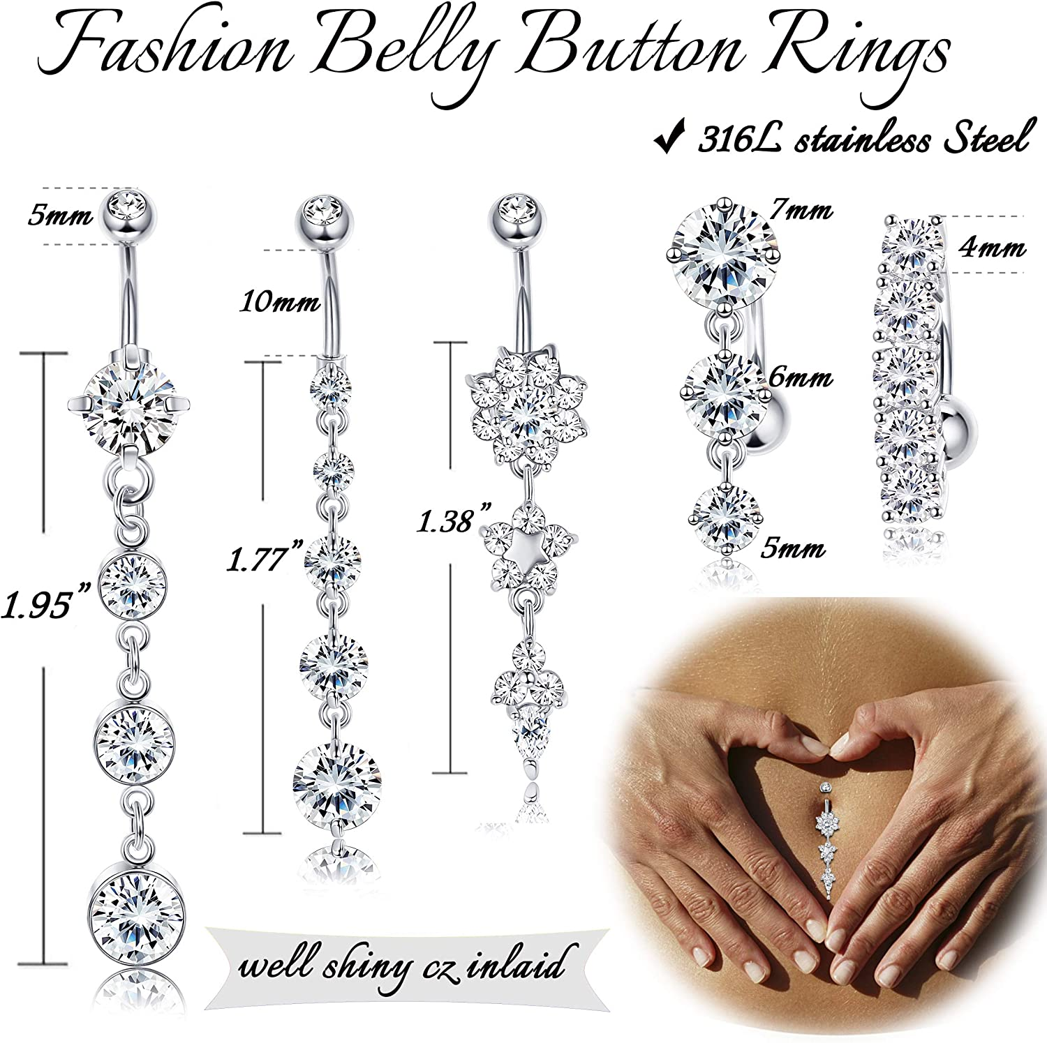 GOLD-TONE STEEL GEM HEART BELLY NAVEL RING CZ DANGLE PAVED B476