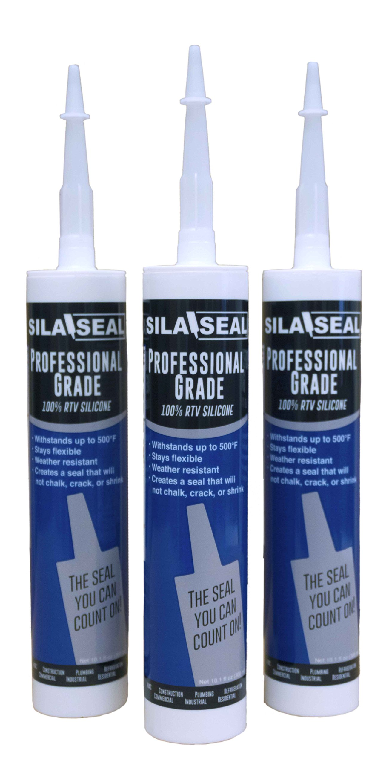 SILA-SEAL Aluminum Professional Grade (Gray) 100% RTV Silicone with reclosable nozzle, 3-pack case
