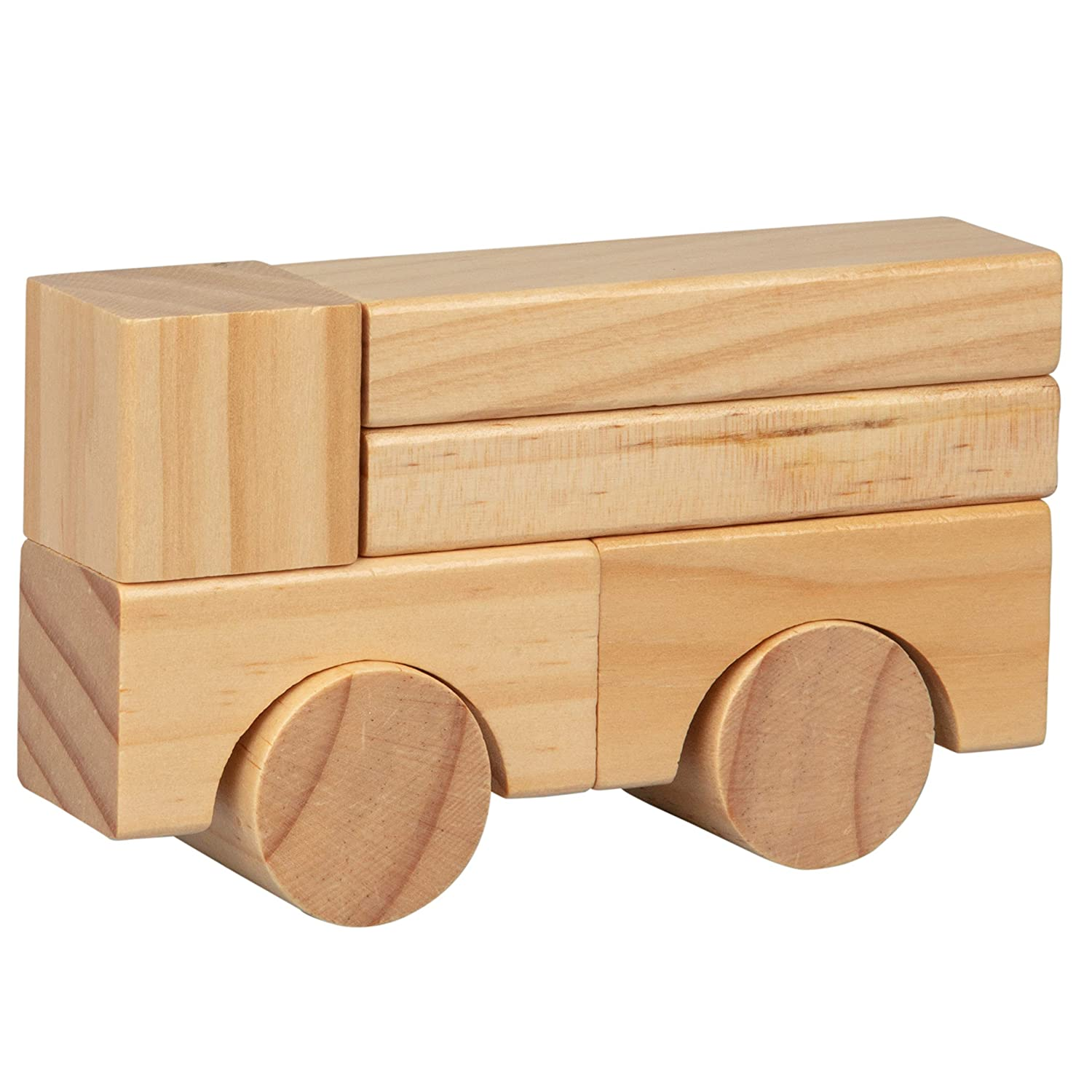 Wooden Blocks Natural Colored - 100/% Real Wood Right Track Toys 100 Pc Wood Building Block Set with Carrying Bag and Container