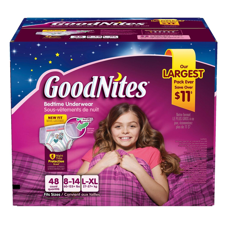 Goodnites Bedtime Underwear Girls, Size L-XL, 44 CT