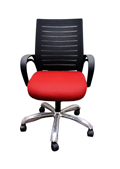 Babar Low Back Executive Revolving Office Chair Black Red Sheet