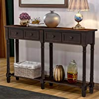 Console Tables for Entryway, WeYoung Console Sofa Table with Two Storage Drawers and Bottom Shelf for Living Room (Espresso)