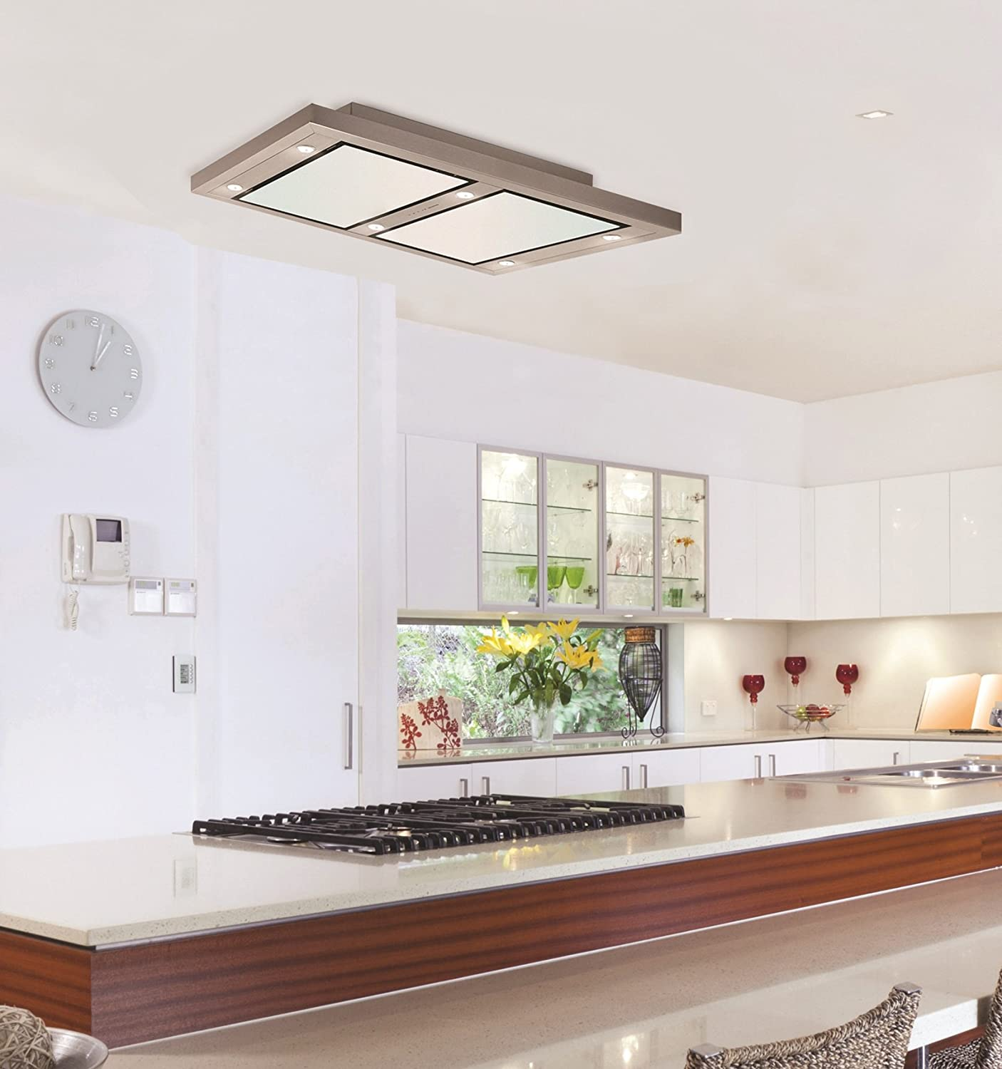 Titania 100cm Stainless Steel & White Glass Re circulating Ceiling