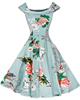 LaceLady BoatNeck Vintage Sleeveless Tea Dress with Belt Pleated Swing Party