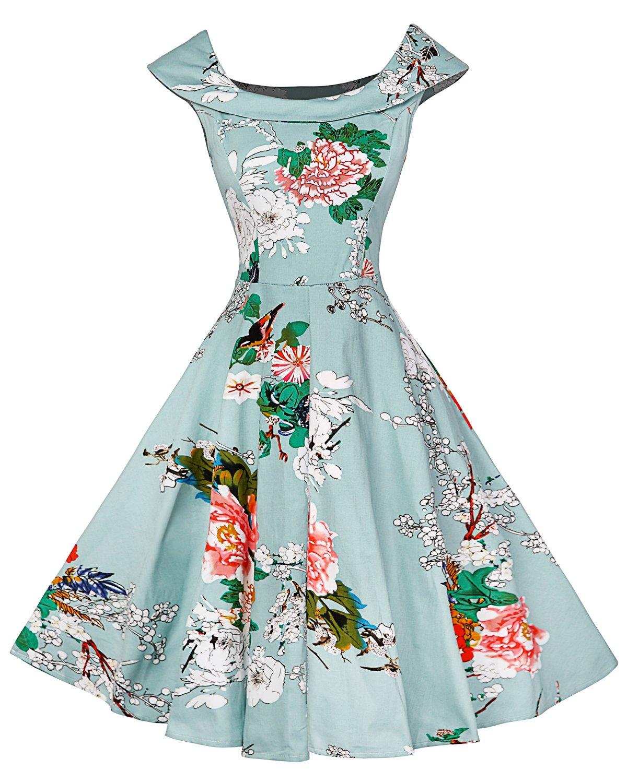 LaceLady BoatNeck Vintage Sleeveless Tea Dress with Belt Pleated Swing Party Lightblue M