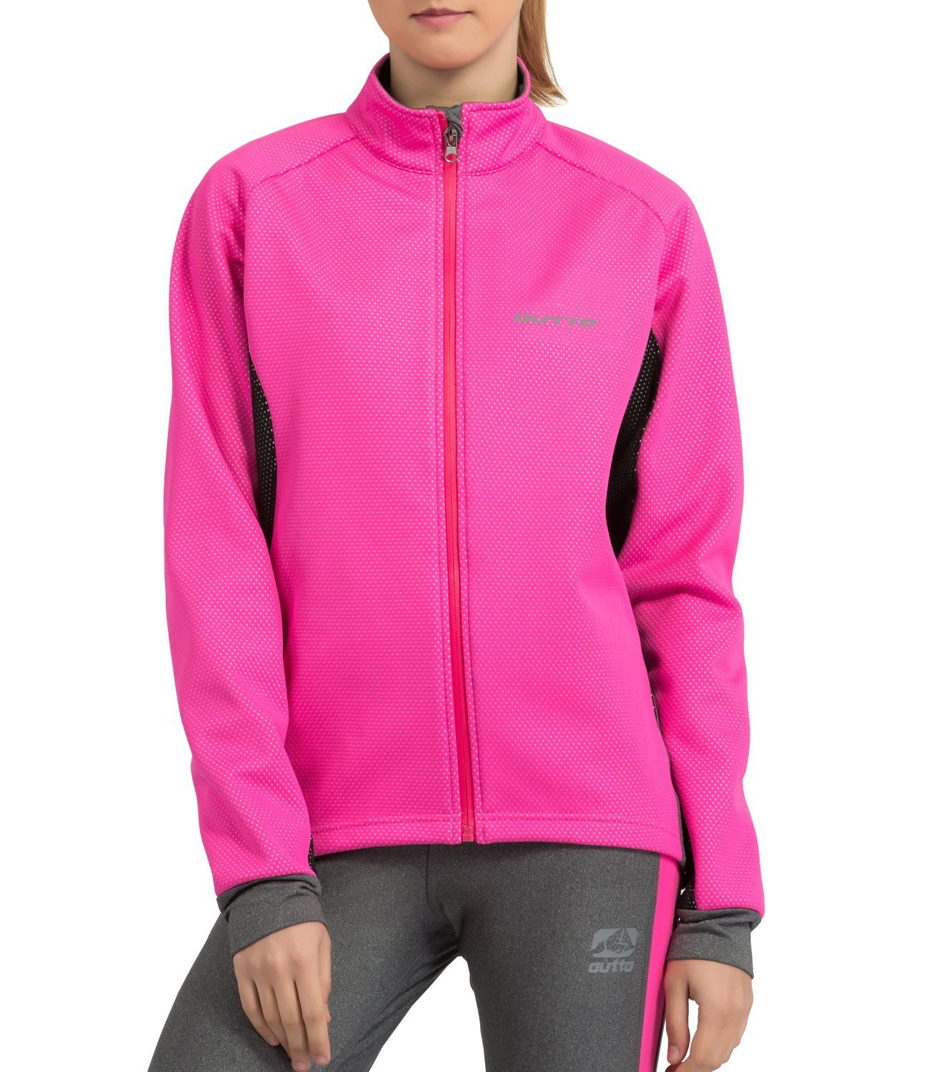 Outto Women's Winter Cycling Jacket Fleece Windproof Thermal Softshell(X-Large,Pink/Black) by Outto