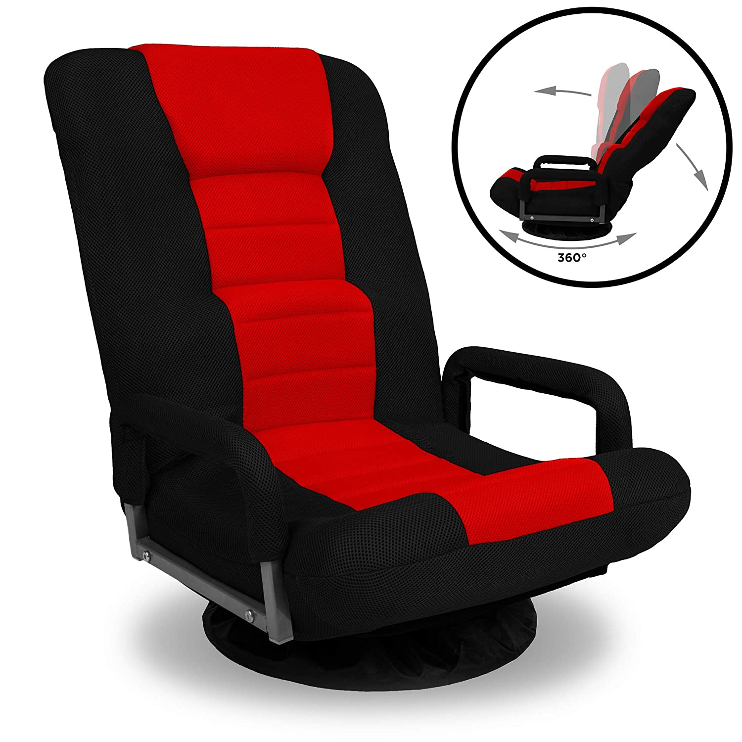 Best Choice Products 360-Degree Swivel Gaming Floor Chair w Armrest Handles, Foldable Adjustable Backrest – Red Black