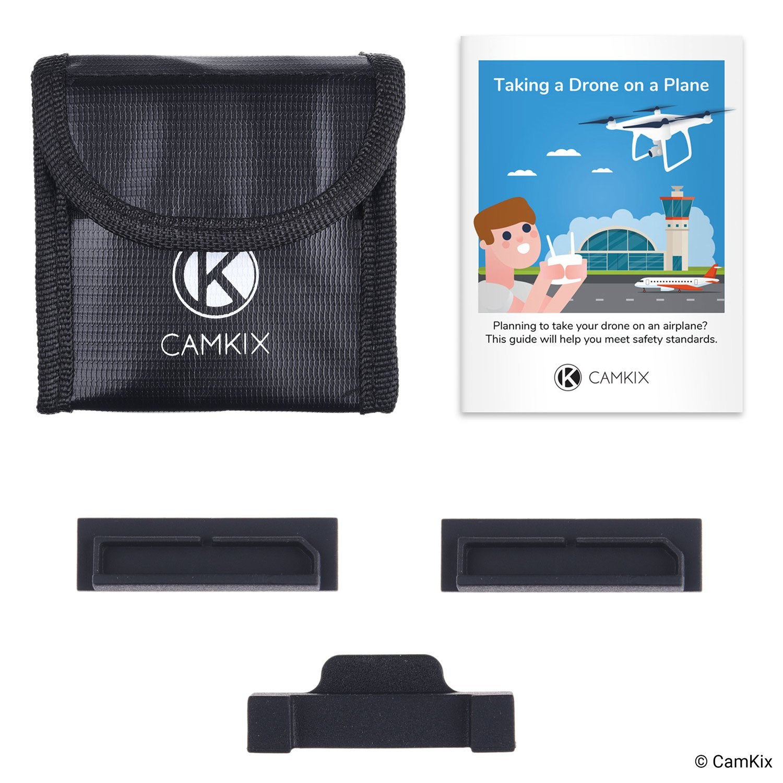Incluye: Bolsa de seguridad LiPo CamKix Paquete de seguridad de viaje Compatible con DJI Mavic 2 3x Cubierta de puerto de bater/ía 1x Cubierta de Seguridad de conexi/ón Para 3 bater/ías