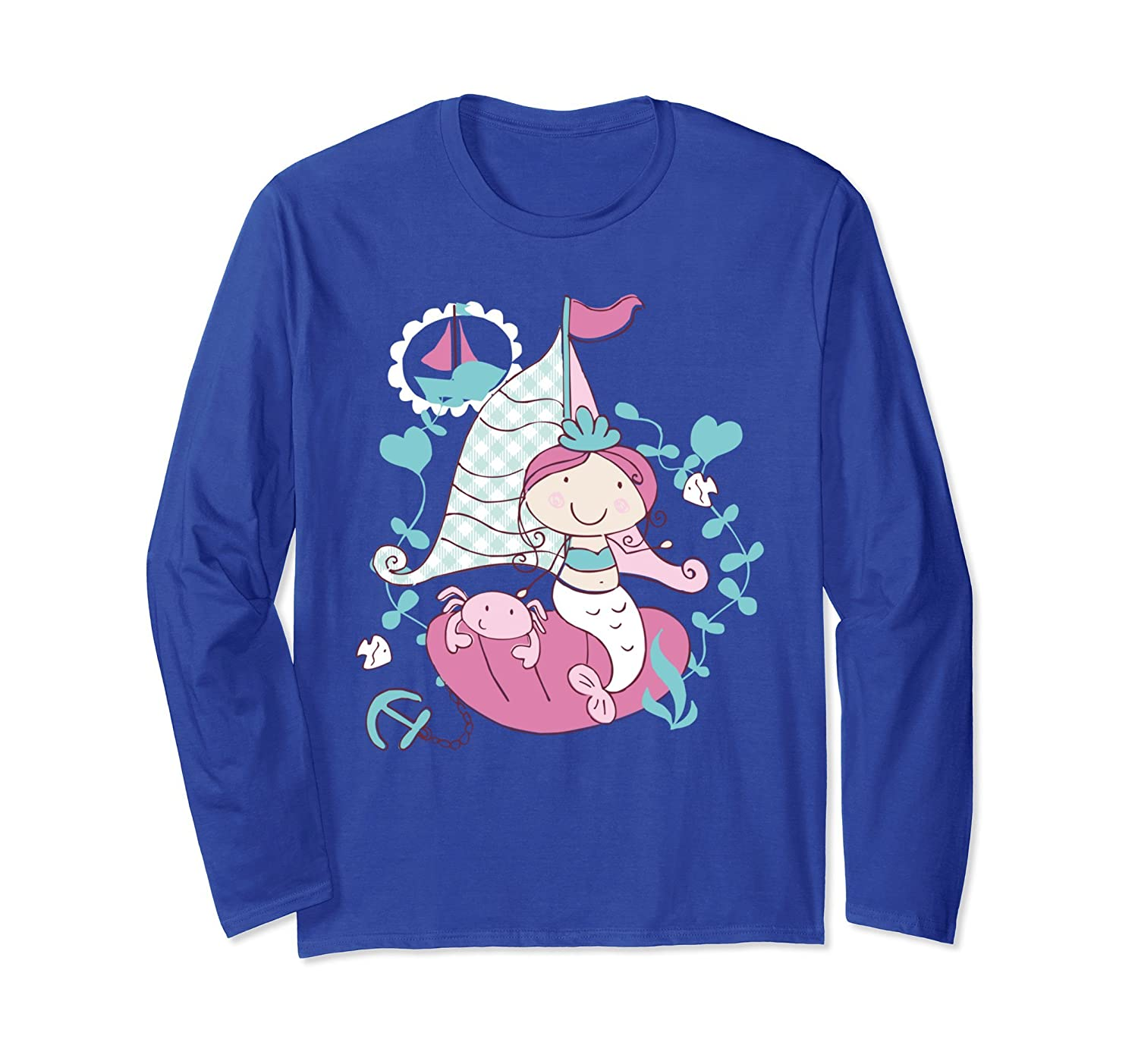 Lovely Mermaid Sailing Boat Adventure Long Sleeve T-Shirt-AZP