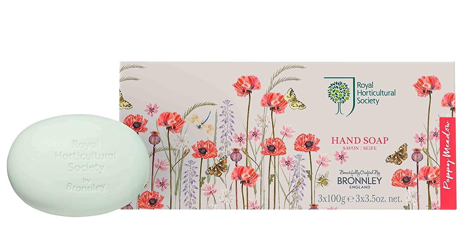 H Bronnley & Co Royal Horticultural Society Poppy Meadow Soap 100 g - Pack  of 3