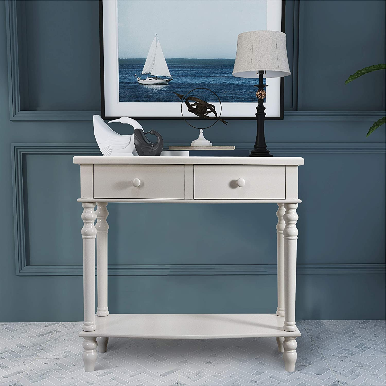 COZAYH Console Sofa Table, Traditional Modern Farmhouse Style w/French Turned Legs (White)