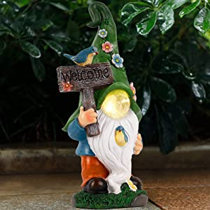Prsildan Garden Gnome Statue Gnome Outdoor, Welcome Sign, Magic Orb with Built-in Solar LED Lights, Hand-Painted and Special Coating, Durable Decor for Lawn Patio Wedding Spring Summer, 15 X 7.5 in