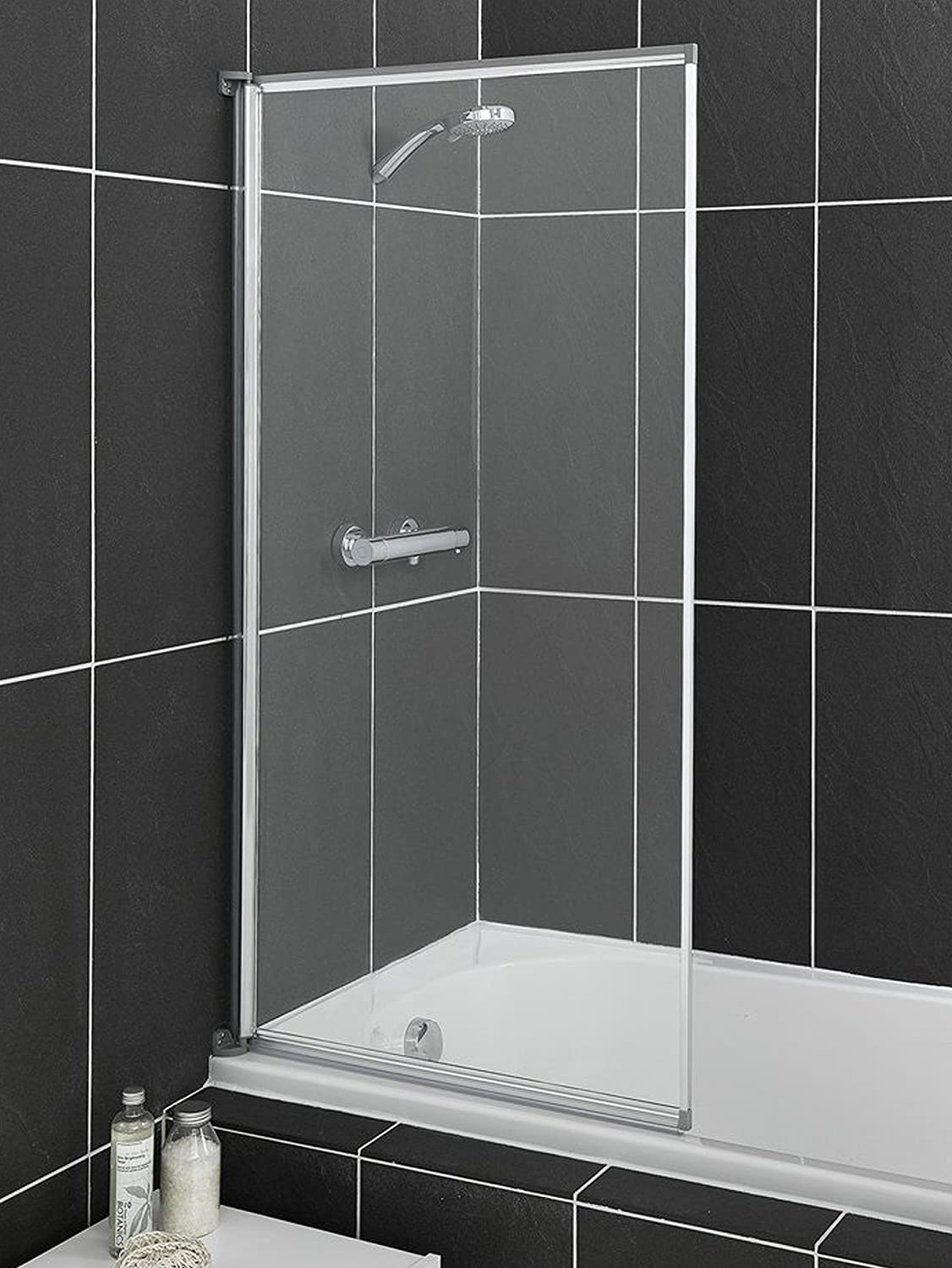 Aqualux 1192950 Fully Framed Sliver Bath Screen with Clear Glass - Silver