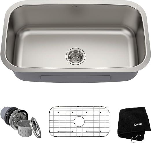 Kraus KBU14 31-1/2 inch Undermount Single Bowl 16-gauge Stainless Steel  Kitchen Sink