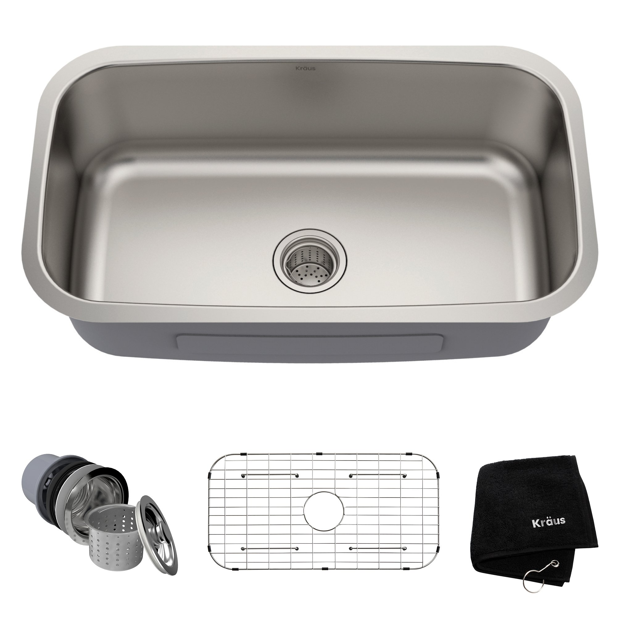Kraus KBU14 31-1/2 inch Undermount Single Bowl 16-gauge Stainless Steel Kitchen Sink by Kraus