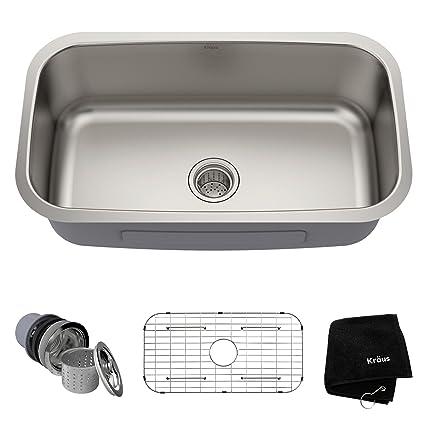 kraus kbu14 31 12 inch undermount single bowl 16 gauge stainless steel - Amazon Kitchen Sinks