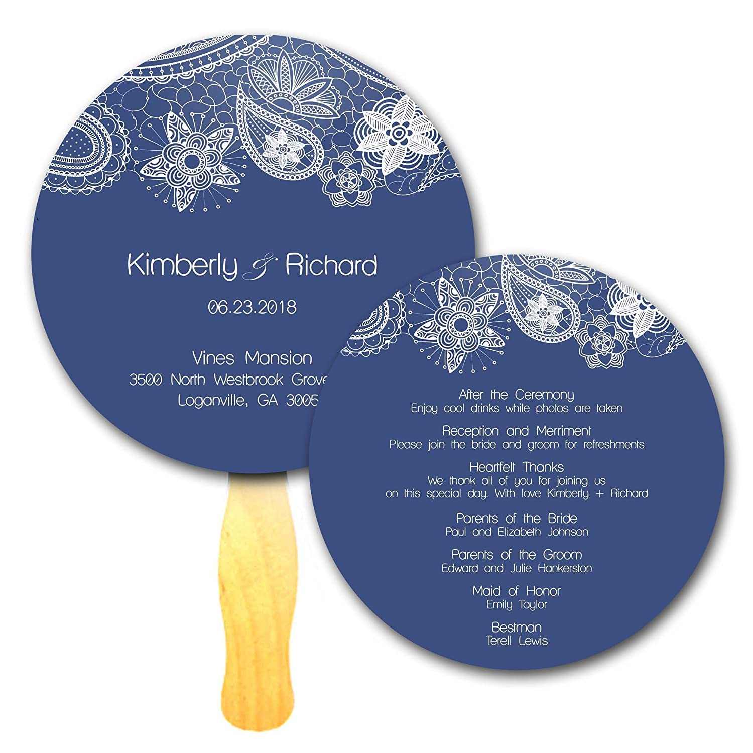 Custom Blue Lace Damask Paisley Circle Ceremony Event Program Hand Paddle Fans - Set of 20 - Double sided Full Printed Color Die Cut Sign Cardstock on Wooden Wavy Sticks