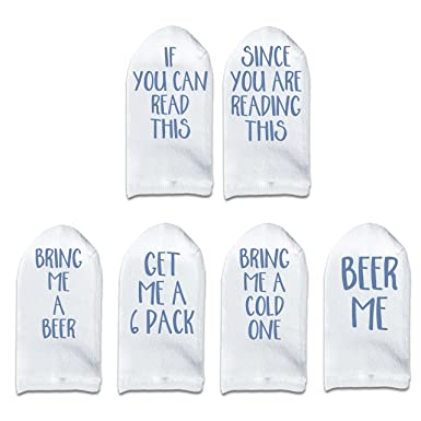 8 Unique Combinations Men/'s No Show Funny Beer Socks Drink Themed Set of 6 by sockprints