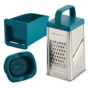 Rachael Ray 47648 Box Stainless Steel Grater, 4 cup, Teal