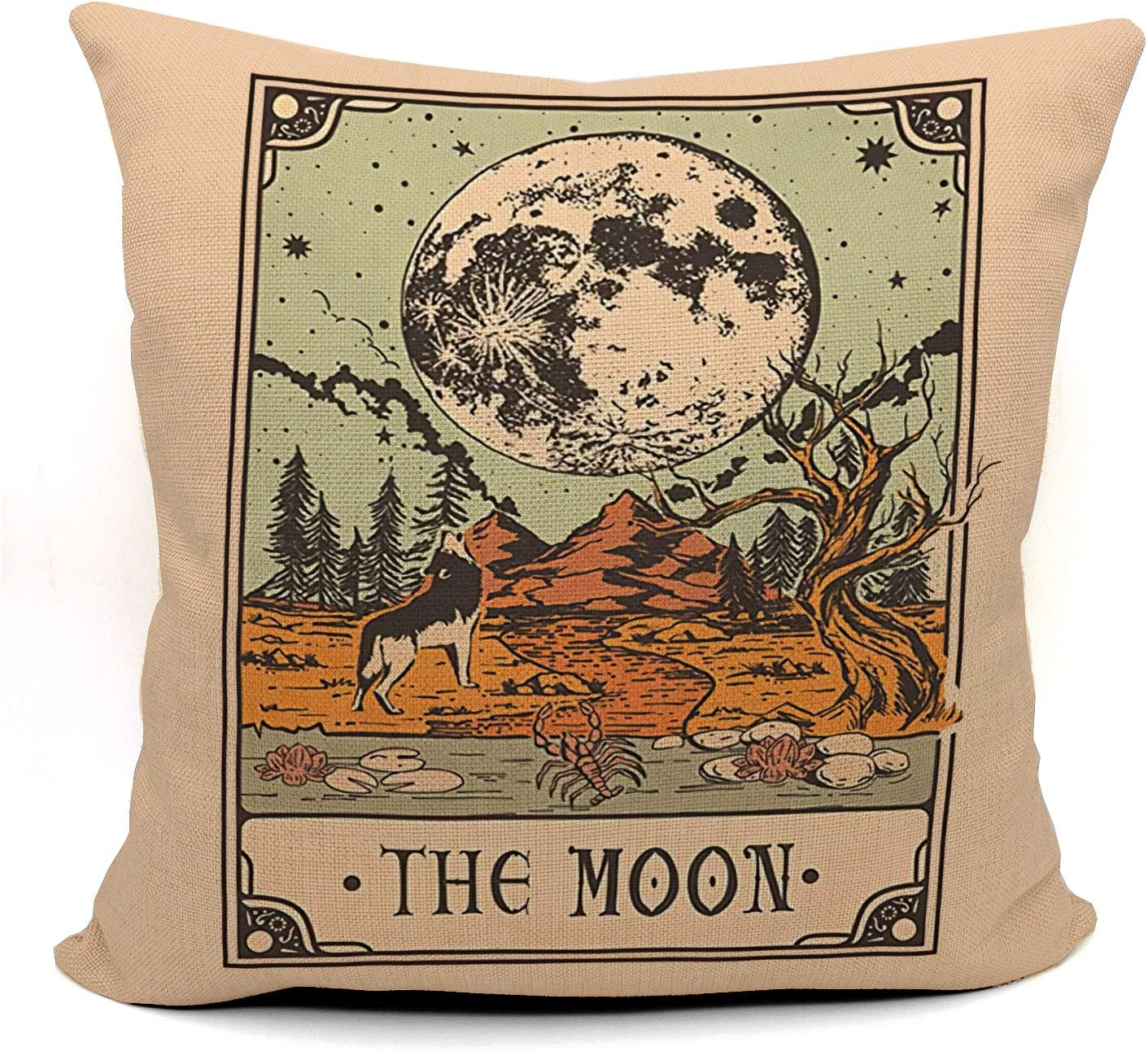 Tarot The Moon Throw Pillow Case, Gift for Daughter, Sister, Mom, Gift for Astrology Lovers, Tarot Lovers,Girl Room Decor, College Dorm Decor, 18 x 18 Inch Linen Cushion Cover for Sofa Couch Bed
