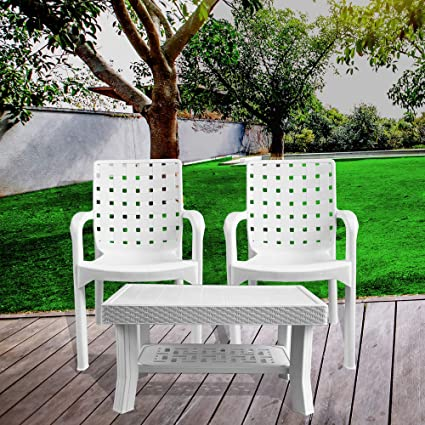 Italica Furniture - Armchair and Table Combo - Indoor and Outdoor Furniture Set  (9408 & 9503, White, Set of 2 Chairs)