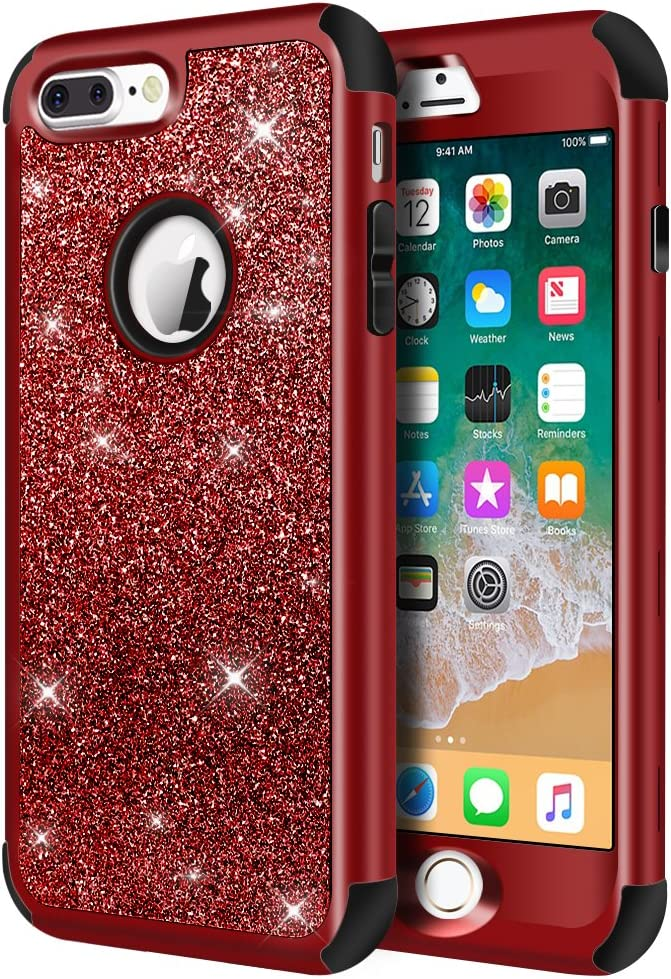 Hython Designed for iPhone 8 Plus, iPhone 7 Plus Case, Heavy Duty Defender Protective Bling Glitter Sparkle Hard Shell Hybrid Shockproof Rubber Bumper Cover for iPhone 7 Plus and 8 Plus, Red
