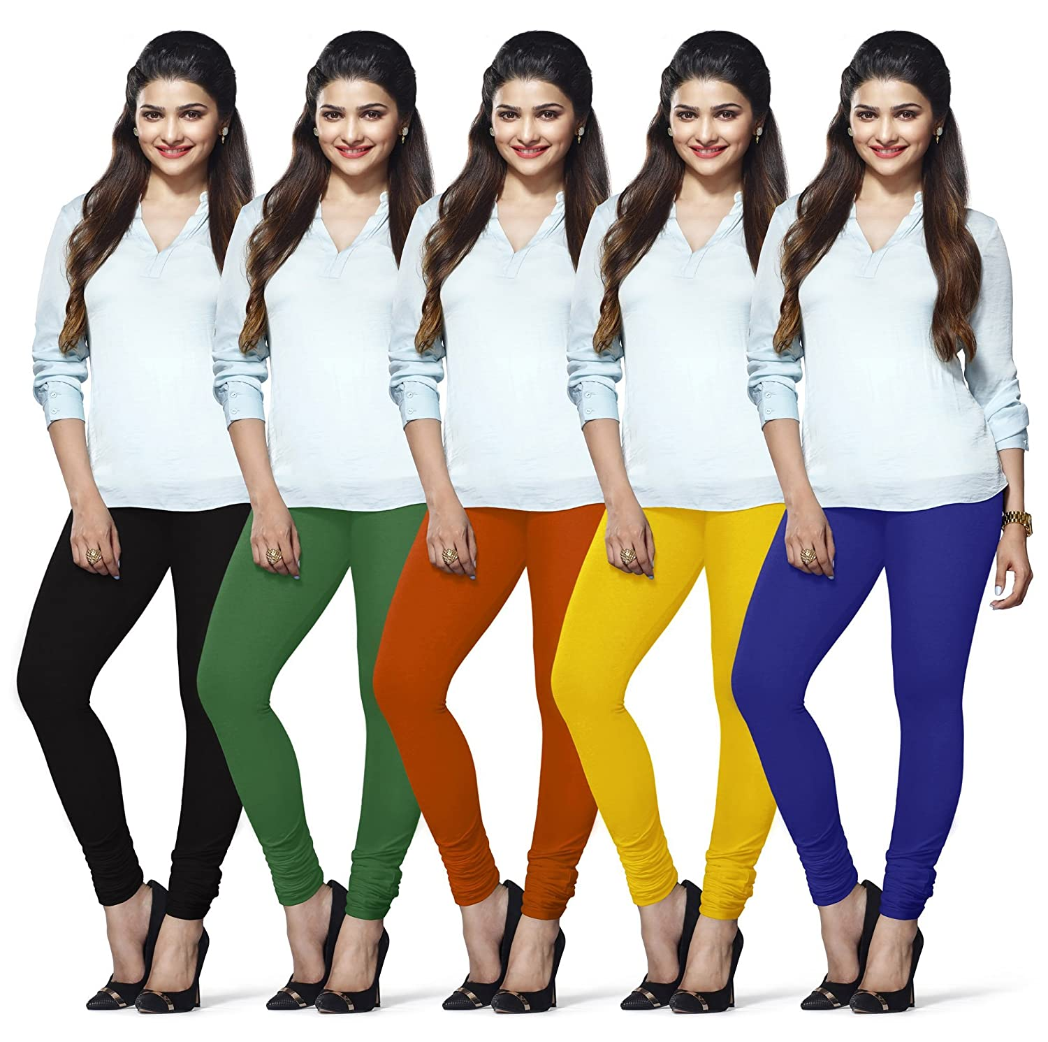 Lux Lyra Women's Cotton Churidar Leggings (Multicolour,Free Size) - Pack...