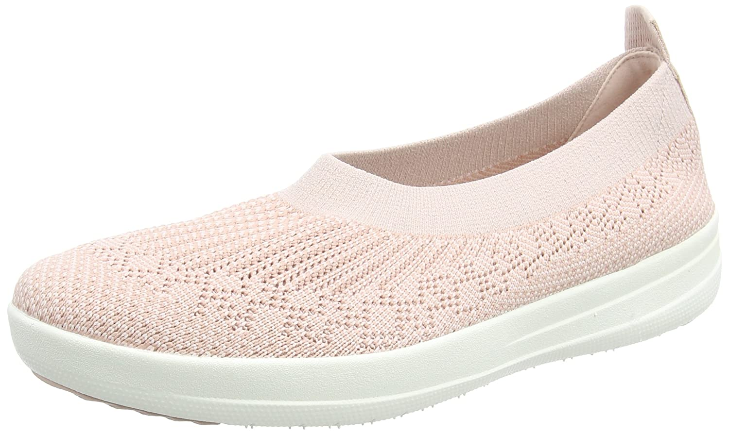 Fitflop H95 Women's Uberknit? Slip-On Ballerinas B01LXOSQRL 10 B(M) US|Neon Blush/White